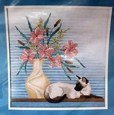 Siamese Cat Counted Cross Stitch Kit Art Deco Picture Candamar 50240 Sealed 1986