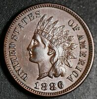 1886 INDIAN HEAD CENT - With LIBERTY & 4 DIAMONDS - AU UNC  - T1 Type 1