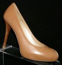 Stuart Weitzman brown leather teardrop peep toe HW49147 platform heels 7M