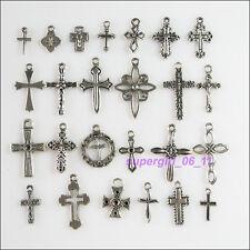 25Pcs Antiqued Tibetan Silver Tone DIY/Cross Mixed Charms Pendants