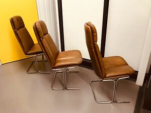 Tim Bates For Pieff Eleganza Leather & Chrome 70's Designer Dining Chairs