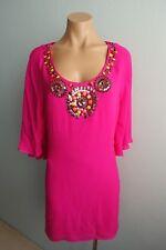 Tibi New York Beaded neckline Cape Back &Sleeves Open Back Silk Dress sz Aus 12