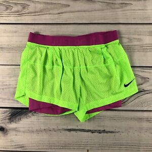 NIKE Women DRI-FIT DOUBLE-UP Shorts-Lime/Purple 484947-381 Size S Small