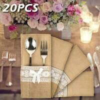 20pcs sacs à couverts en jute jute toile jute sacs à couverts table fête mariage