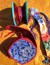 "5"" TRADITIONAL RITUAL DAMARU CHOD WOOD HAND DRUM BROCADE CASE TIBETAN BUDDIST"