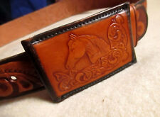 32 Small True Vtg 70s Hippie Tooled Horse Western Cowboy Hippy Leather Belt
