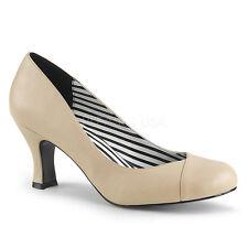 Jenna-01 Chic Comfortable Pleaser Women PUMPS M. 7 Cm Heel Cream Faux Leather