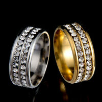 Black/Silver/Gold Stainless Steel Sz8-10 Unisex CZ Ring Men/Women's Wedding CHI