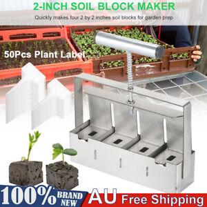 """Handheld Mini 2"""" Soil Blocker Stainless Plant Soil Block Maker Garden Tools Kit"""