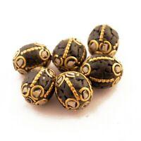 Black White Howlite Brass 6 Beads Tibetan Nepalese Handmade Nepal UB25