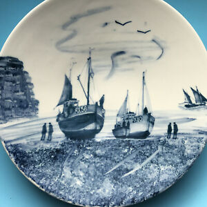 Oxney Green ceramic Platter / Plate Fishing Boat(s) Nautical 28.5 cm / 11 inches
