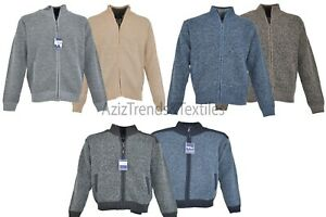 Mens Fleece Lined Insulated Knitted Zip Up Cardigan Striped Warm Winter Jumper