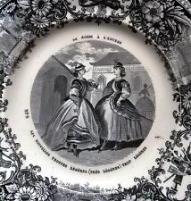vintage early women soldiers scene feminism Creil plate feminist France ca 1855