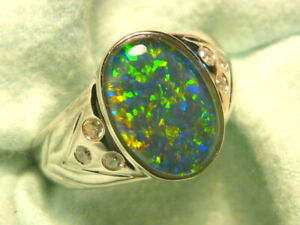 Mens Opal Ring Sterling Silver, Natural Opal Triplet. 14x10mm Oval . item 150659