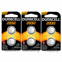 6 x 2032 Duracell Coin Cell Batteries - Lithium 3V - (CR2032, DL2032, ECR2032)