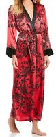 NWT In Bloom by Jonquil Red/Black Floral SATIN CHARMEUSE Long Wrap Robe M VELVET