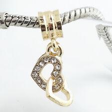 European 1pcs gold CZ Charm Beads Fit 925 Necklace Bracelet jewelry #SQ501S
