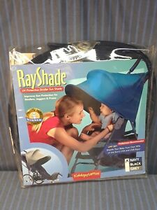 NEW Kiddopotamus Ray Shade UV Protective Stroller Sun Shade Cover, Navy, UPF 50+