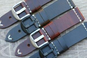 Watch Strap Genuine Calf Leather Double Layered Vintage Look Hand Stitched