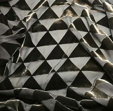 """Burnout Silk VELVET Fabric GRAY TRIANGLES fat 1/4 18""""x22"""" remnant"""