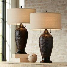 360 Lighting Modern Table Lamps Set of 2 Hammered Oiled Bronze Oatmeal Linen Dru