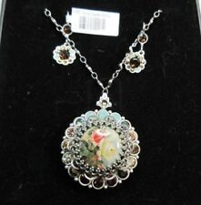 NWT $224 Michal Negrin Silver Plated Roses Crystal Locket & Matching Earrings