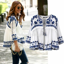 3/4 Sleeve Collarless 100% Cotton Tops & Blouses for Women