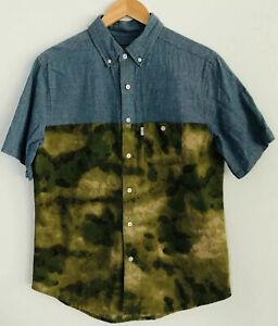 CROOKS & CASTLES Denim & Camo Mens Short Sleeved Cotton Button Up Shirt Size M
