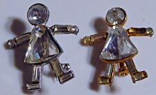Base Metal People Pins Pair of Vintage Rhinestone and