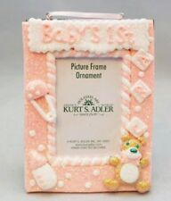 """Baby Girl Photo Ornament Shower Gift Pink Frame 1st Christmas 4x5""""  Clay-dough"""