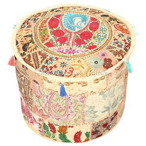 Bohemian Ottoman Pouffe Cover Beige Cotton Patchwork Embroidered Round 22 Inch