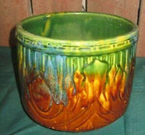 vintage jardiniere planter pot majolica Federal? pottery stoneware