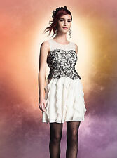 Harry Potter Black Lace & Ivory Ruffle Formal Prom Dress SMALL Rare NWT! Cosplay