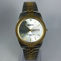 Vintage Brut Womens Two Tone Stainless Steel Day/Date Indicator Wrist Watch