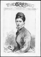 1875 Antique Print - PORTRAIT Elizabeth Thompson Drawn Life Lady Drawing(G202)