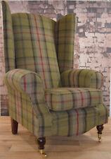 Wing Back Queen Anne Fireside Extra Tall High Back Chair Hunter Green Tartan
