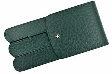 RARE Montblanc Thuya Green Colored Leather Glove 3 Pen Pouch Case Model 46102