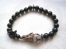 MENS DRAGONS Vein Agate & Black Onyx Gemstone Bead Bracelet Hematite Rose Gold