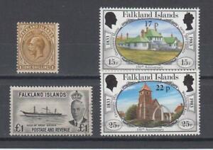 Falkland Islands SG. #48 OGLH, #185 used and #443/4 PO fresh cv Br Pounds  60