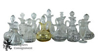 Lot of 13 Vintage Vinegar Decanters Pressed Glass Cut Crystal Cruets w Stoppers