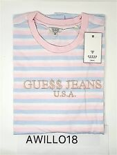Guess X Dès que possible ROCKY Rose Bleu Candy À Rayures Logo T-shirt XXL gue$ $ dollars AP Tee