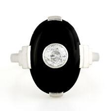Art deco platinum Onyx Old European diamond Ring 6.25