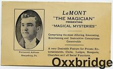 LEMONT THE MAGICIAN Card Photo Sharpsburg Pa 1900 Vintage Magic ACADIAN French