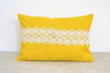 """2 x Yellow Oblong Cushion Cover SLIGHT DEFECTS with white Lace Feature 12"""" x 16"""""""