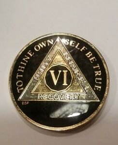 """6 Year AA Coin BLACK Enamel, Gold, Silver 1⅜"""" Traditional Size Recovery Six VI"""