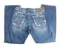 Silver Jeans Zac Straight Leg Medium Distressed Denim Jeans Mens 33x32 (34x32)