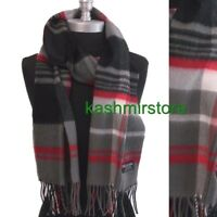 New 100%CASHMERE SCARF MADE IN SCOTLAND PLAID DESIGN SOFT UNISEX ,Black/Gray/Red