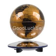 "Novel Decor Levitation 6"" Magnetic Rotating Globe Floating Levitating Earth Gold"