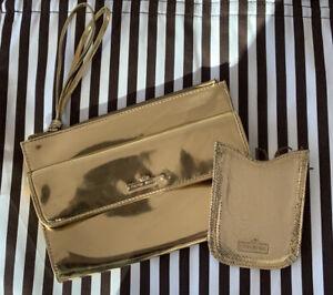 BENDEL BUNDLE vintage 90's gold clutch and wallet business card holder