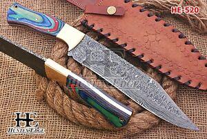 HUNTEX Custom Handmade Damascus Steel 355 mm Long Pakkawood Hunting Bowie Knife